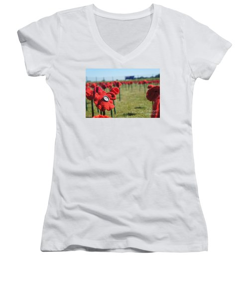 5000 Poppies Women's V-Neck T-Shirt (Junior Cut) by Therese Alcorn