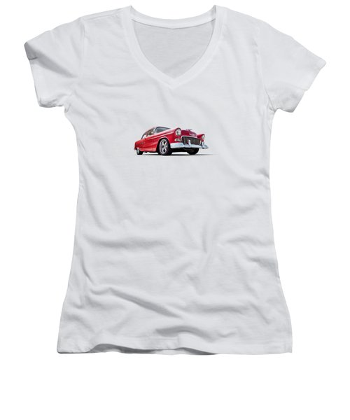 55 Red Women's V-Neck T-Shirt (Junior Cut) by Douglas Pittman