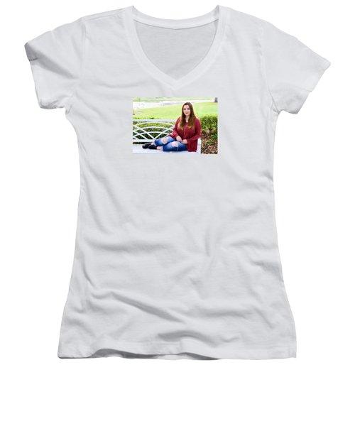 5559-2 Women's V-Neck T-Shirt (Junior Cut) by Teresa Blanton