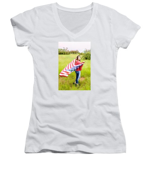 Women's V-Neck T-Shirt (Junior Cut) featuring the photograph 5644 by Teresa Blanton