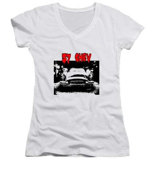 57 Chev Women's V-Neck T-Shirt (Junior Cut) by Kim Gauge