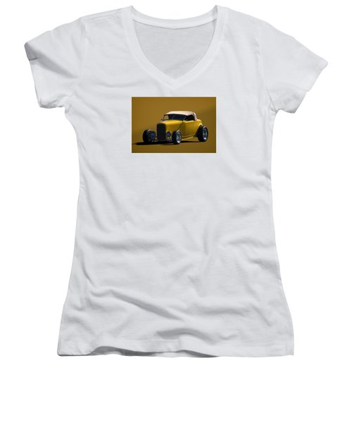 1932 Ford Roadster Hot Rod Women's V-Neck T-Shirt (Junior Cut) by Tim McCullough