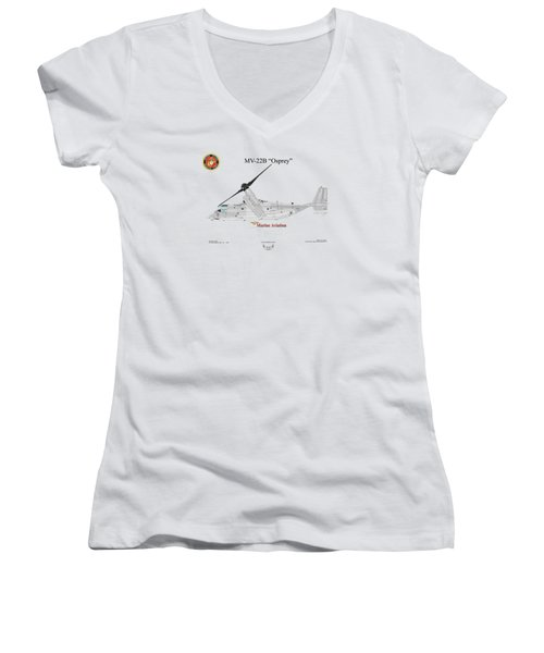 Bell Boeing Mv-22b Osprey Women's V-Neck T-Shirt