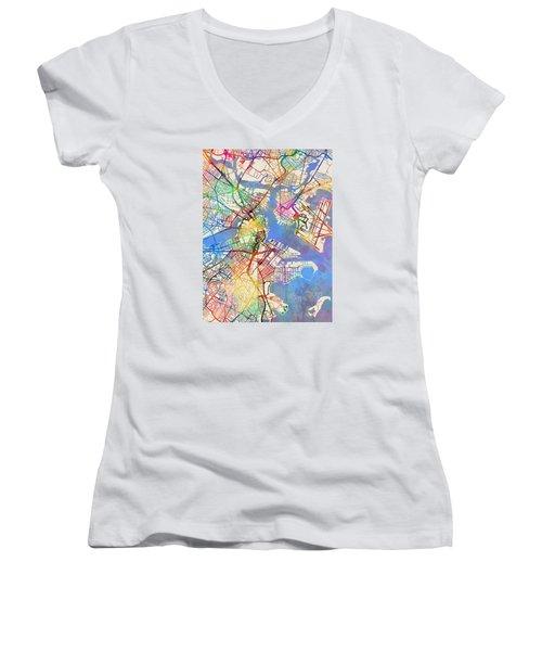 Boston Massachusetts Street Map Women's V-Neck T-Shirt (Junior Cut) by Michael Tompsett