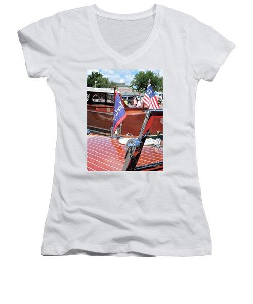 Chris Craft Runabout Women's V-Neck T-Shirt