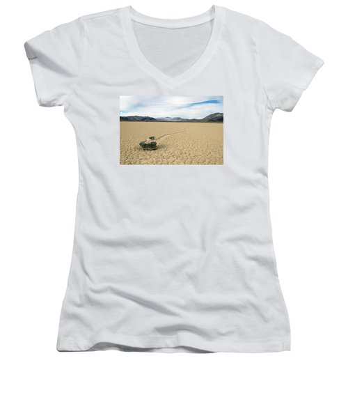 Women's V-Neck T-Shirt (Junior Cut) featuring the photograph Death Valley Racetrack by Breck Bartholomew