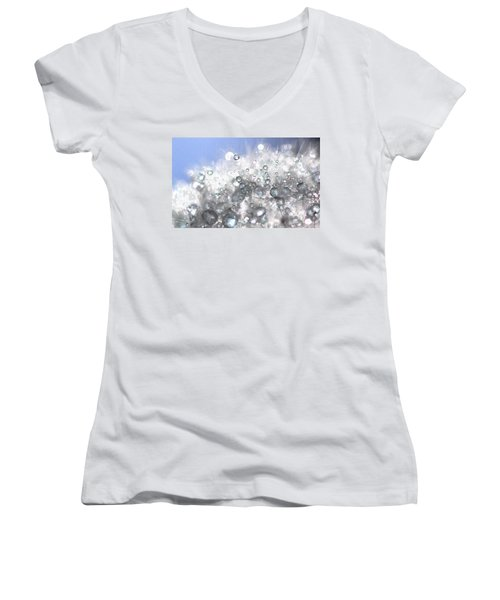Women's V-Neck T-Shirt (Junior Cut) featuring the photograph Drops by Sylvie Leandre