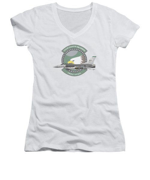 Lockheed Martin F-16c Viper Women's V-Neck T-Shirt
