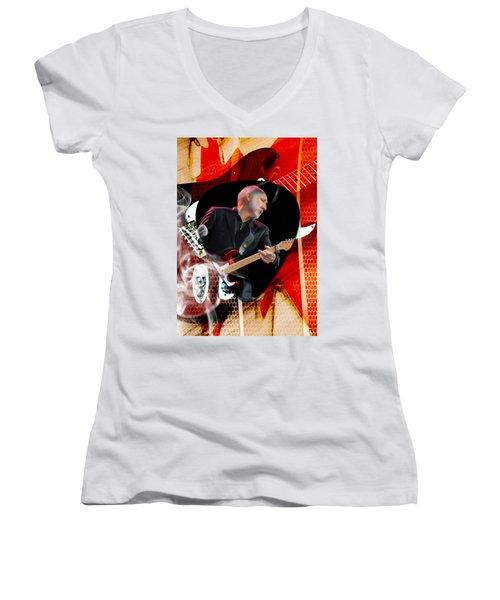 Pete Townshend Art Women's V-Neck T-Shirt (Junior Cut) by Marvin Blaine