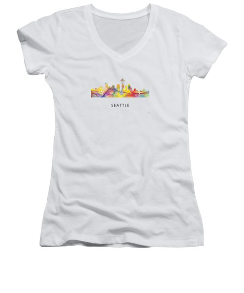 Seattle Washington Skyline Women's V-Neck T-Shirt (Junior Cut)