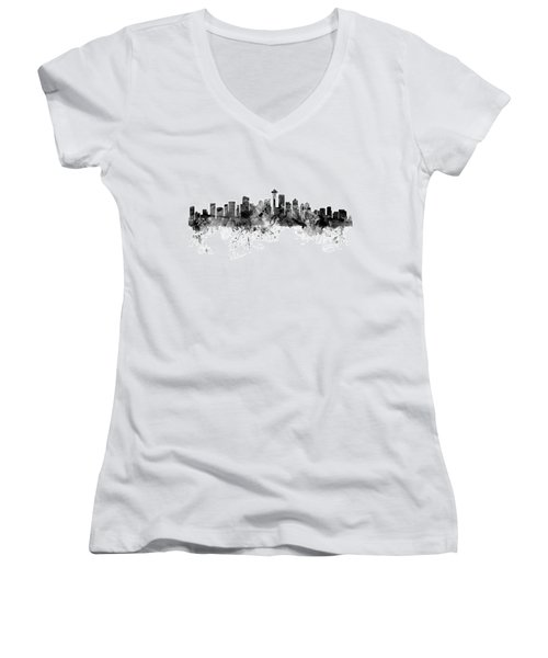Seattle Washington Skyline Women's V-Neck T-Shirt