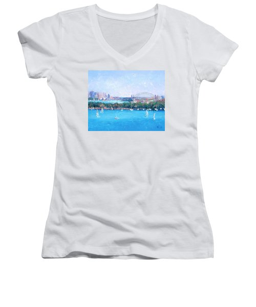 Sydney Harbour And The Opera House By Jan Matson Women's V-Neck