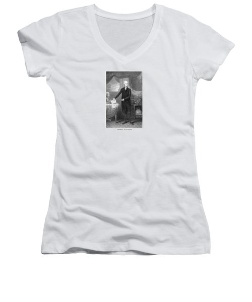 Thomas Jefferson Women's V-Neck T-Shirt (Junior Cut) by War Is Hell Store