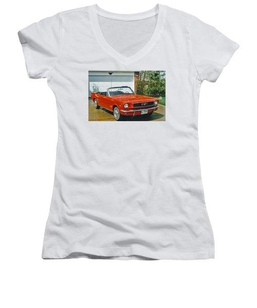 66 Mustang Convertable Women's V-Neck