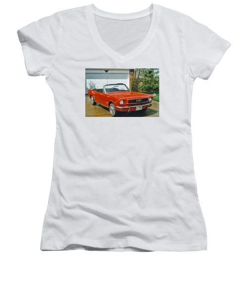 66 Mustang Convertable Women's V-Neck