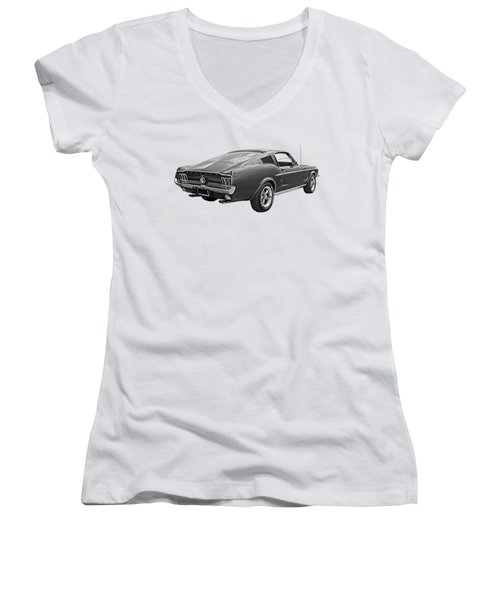 67 Fastback Mustang In Black And White Women's V-Neck T-Shirt (Junior Cut) by Gill Billington
