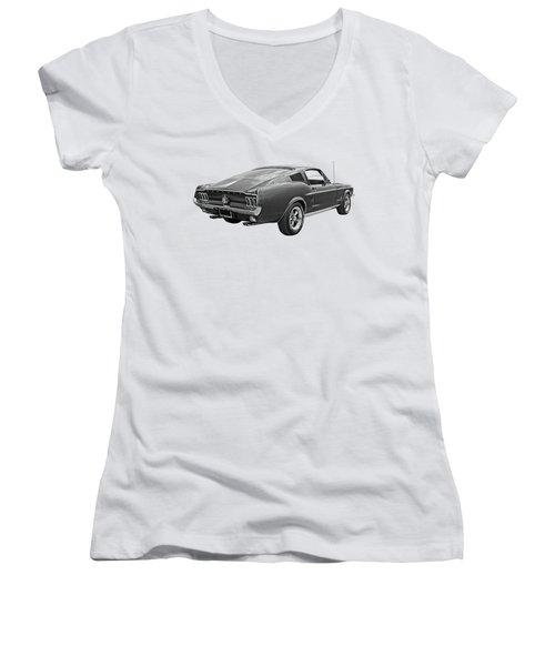 67 Fastback Mustang In Black And White Women's V-Neck