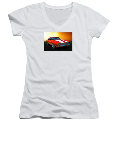 68 Camaro Women's V-Neck T-Shirt (Junior Cut) by Keith Hawley