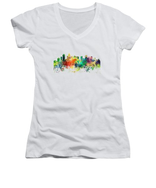 Charlotte Nc Skyline Women's V-Neck (Athletic Fit)
