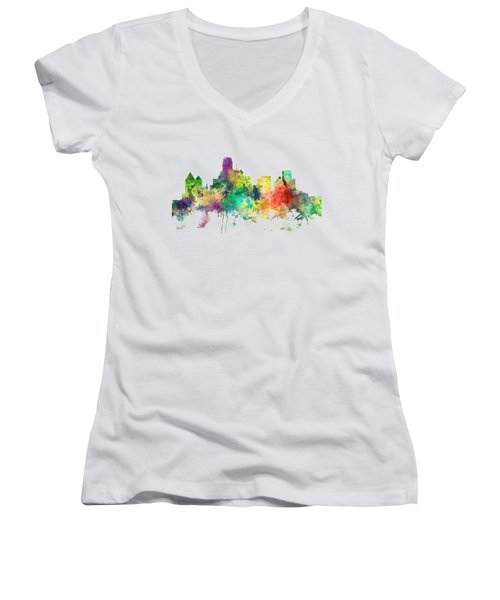 Dallas Texas Skyline Women's V-Neck T-Shirt (Junior Cut) by Marlene Watson