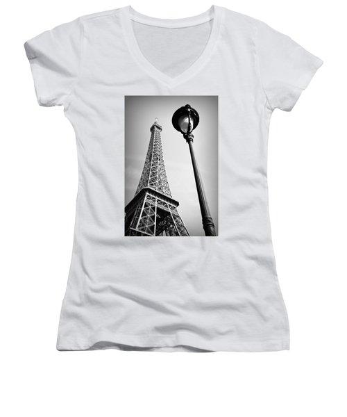 Eiffel Tower Women's V-Neck T-Shirt (Junior Cut) by Chevy Fleet