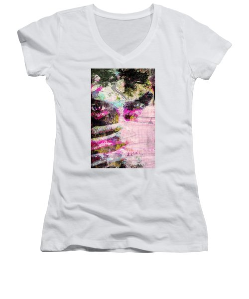 Women's V-Neck T-Shirt (Junior Cut) featuring the mixed media Ian Somerhalder by Svelby Art