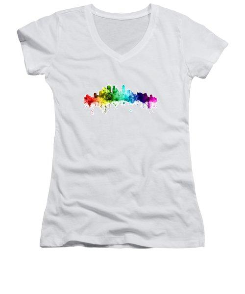 Minneapolis Minnesota Skyline Women's V-Neck T-Shirt