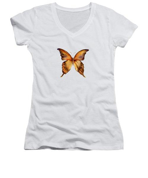 7 Yellow Gorgon Butterfly Women's V-Neck T-Shirt (Junior Cut) by Amy Kirkpatrick