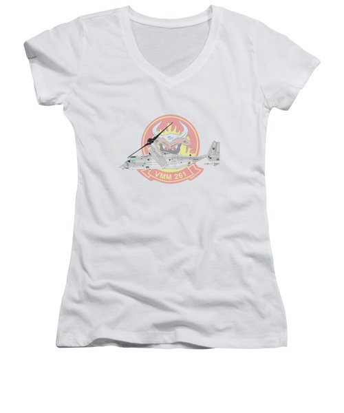 Bell Boeing Mv-22b Osprey Women's V-Neck T-Shirt (Junior Cut) by Arthur Eggers