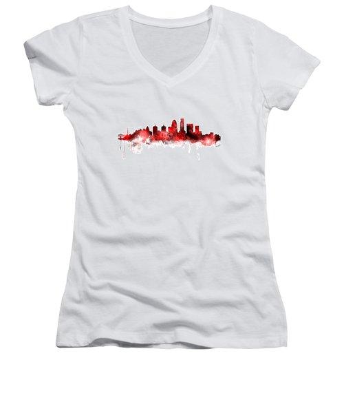 Louisville Kentucky City Skyline Women's V-Neck T-Shirt (Junior Cut) by Michael Tompsett