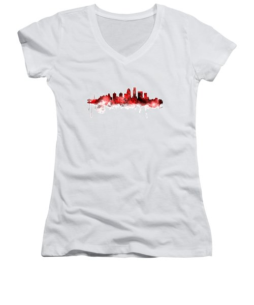 Louisville Kentucky City Skyline Women's V-Neck T-Shirt