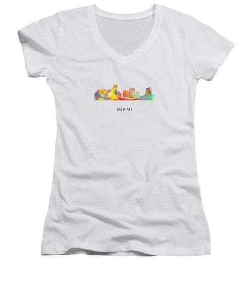 Miami Florida Skyline Women's V-Neck T-Shirt (Junior Cut) by Marlene Watson