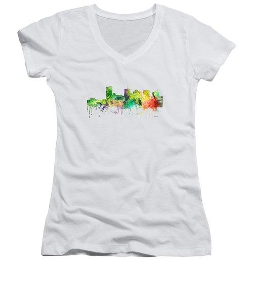 Phoenix Arizona Skyline Women's V-Neck T-Shirt (Junior Cut) by Marlene Watson