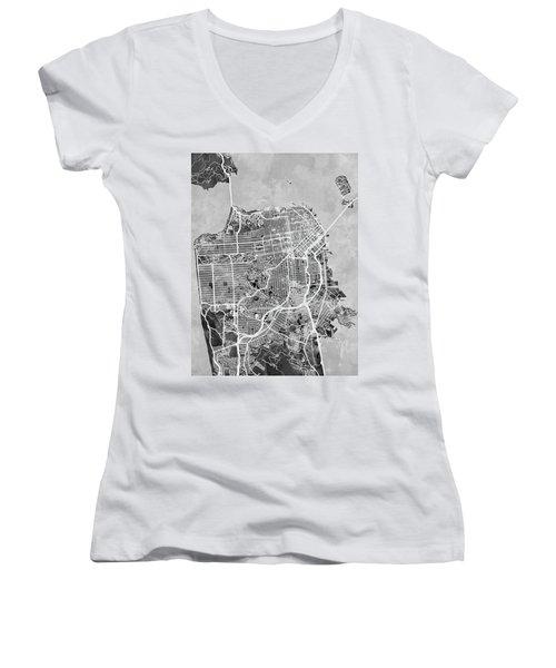 San Francisco City Street Map Women's V-Neck T-Shirt (Junior Cut) by Michael Tompsett