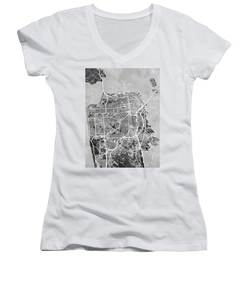 San Francisco City Street Map Women's V-Neck T-Shirt (Junior Cut)