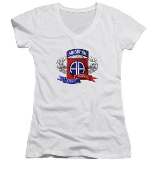Women's V-Neck T-Shirt (Junior Cut) featuring the digital art 82nd Airborne Division 100th Anniversary Insignia Over White Leather by Serge Averbukh