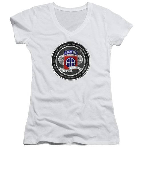 Women's V-Neck T-Shirt (Junior Cut) featuring the digital art 82nd Airborne Division 100th Anniversary Medallion Over White Leather by Serge Averbukh