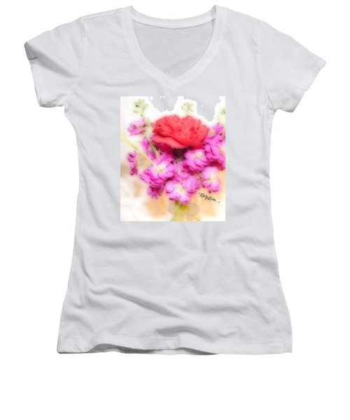 #8742 Soft Flowers Women's V-Neck T-Shirt (Junior Cut) by Barbara Tristan
