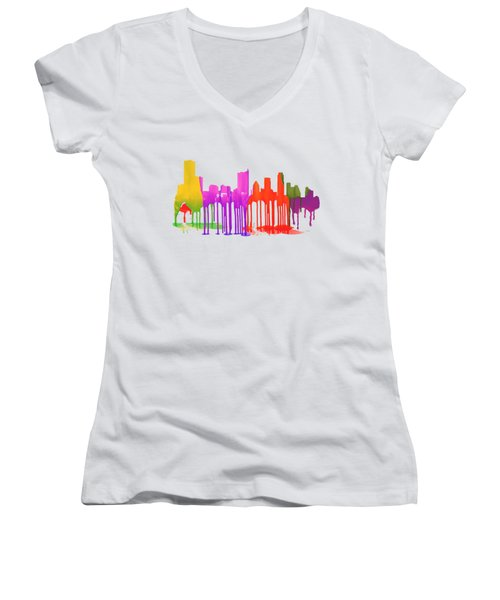Austin Texas Skyline Women's V-Neck T-Shirt (Junior Cut) by Marlene Watson