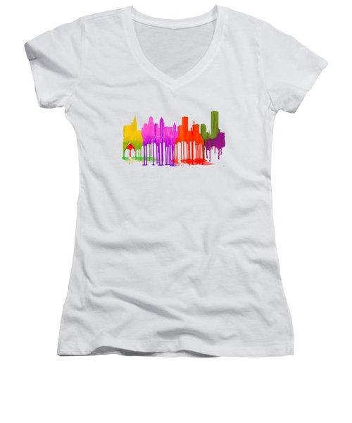 Buffalo New York Skyline Women's V-Neck T-Shirt (Junior Cut) by Marlene Watson