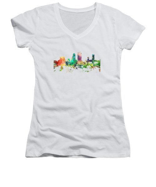 Jacksonville Florida Skyline Women's V-Neck T-Shirt (Junior Cut) by Marlene Watson