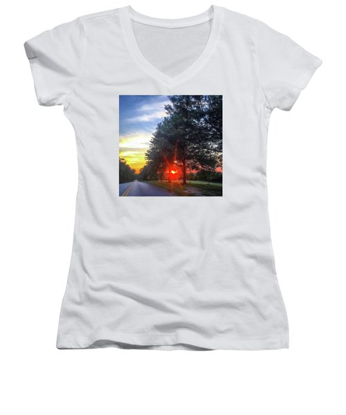 Women's V-Neck T-Shirt (Junior Cut) featuring the photograph 9 June 16 Rowing Club by Toni Martsoukos