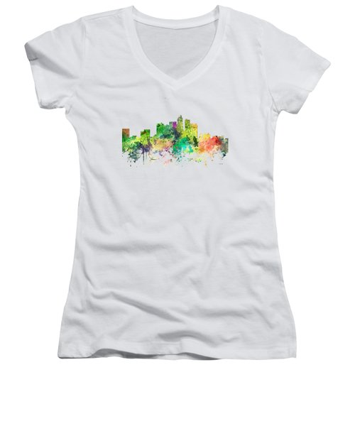 Los Angeles California Skyline Women's V-Neck T-Shirt (Junior Cut) by Marlene Watson