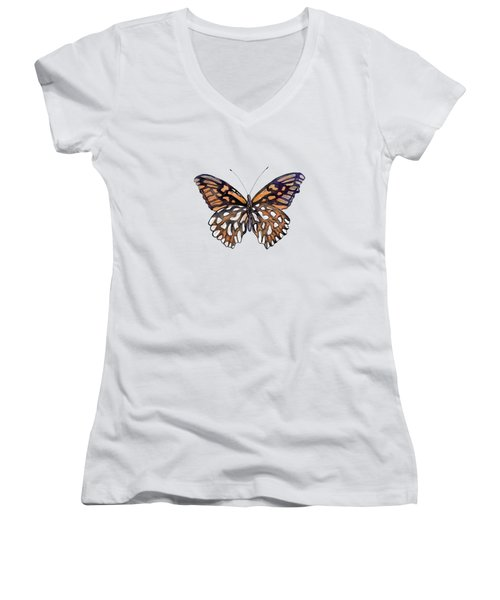 9 Mexican Silver Spot Butterfly Women's V-Neck (Athletic Fit)