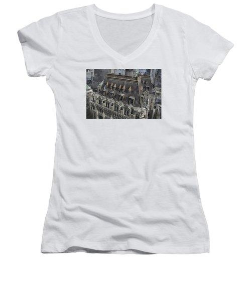 90 West - West Street Building Women's V-Neck T-Shirt (Junior Cut) by Dyle Warren