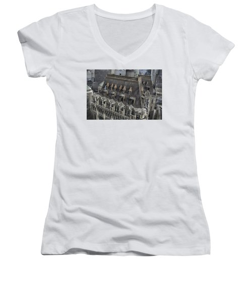 90 West - West Street Building Women's V-Neck T-Shirt