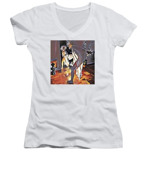 9926s-dm Watercolor Woman In White Confronts Herself In Mirror Women's V-Neck
