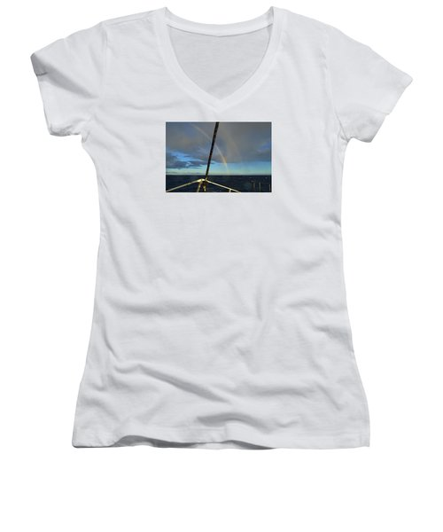 Women's V-Neck T-Shirt (Junior Cut) featuring the photograph A Beautiful Day by James McAdams