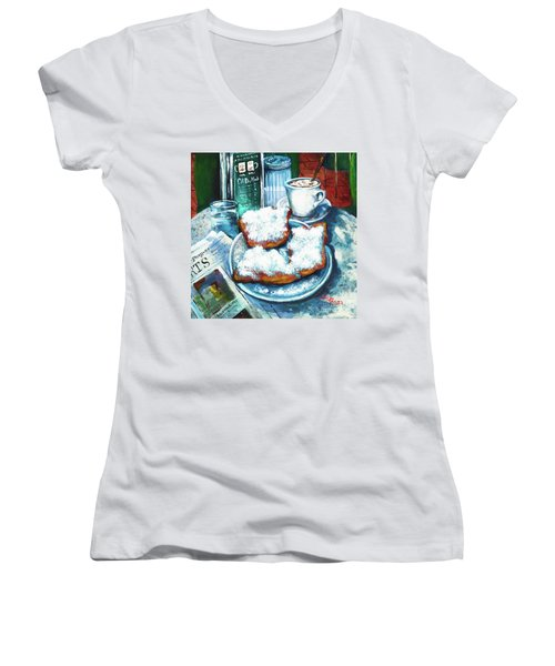 A Beignet Morning Women's V-Neck (Athletic Fit)