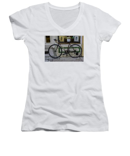 A Bicycle In The French Quarter, New Orleans, Louisiana Women's V-Neck